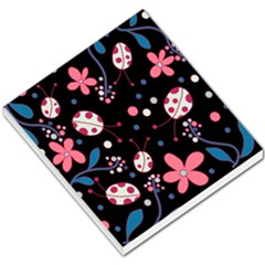 Pink Ladybugs And Flowers  Small Memo Pads by Valentinaart