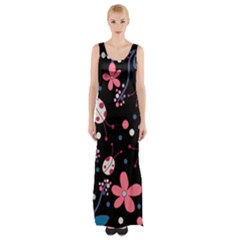 Pink Ladybugs And Flowers  Maxi Thigh Split Dress by Valentinaart