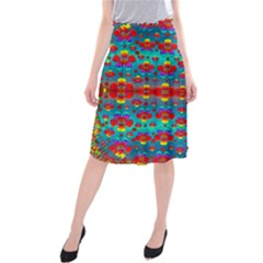 Peace Flowers And Rainbows In The Sky Midi Beach Skirt by pepitasart