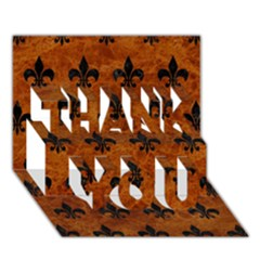 Royal1 Black Marble & Brown Marble Thank You 3d Greeting Card (7x5) by trendistuff