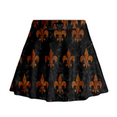Royal1 Black Marble & Brown Marble (r) Mini Flare Skirt