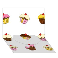 Colorful Cupcakes  Heart Bottom 3d Greeting Card (7x5) by Valentinaart