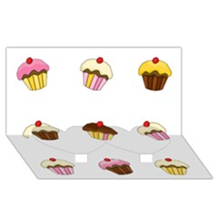 Colorful Cupcakes  Twin Heart Bottom 3d Greeting Card (8x4) by Valentinaart