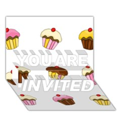 Colorful Cupcakes  You Are Invited 3d Greeting Card (7x5) by Valentinaart