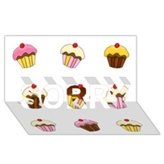 Colorful Cupcakes  Sorry 3d Greeting Card (8x4) by Valentinaart