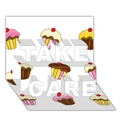 Colorful Cupcakes  Take Care 3d Greeting Card (7x5)