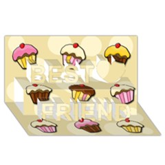 Colorful Cupcakes Pattern Best Friends 3d Greeting Card (8x4) by Valentinaart