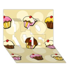 Colorful Cupcakes Pattern Love 3d Greeting Card (7x5) by Valentinaart