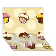 Colorful Cupcakes Pattern Love Bottom 3d Greeting Card (7x5) by Valentinaart