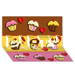 Love Cupcakes Party 3d Greeting Card (8x4) by Valentinaart