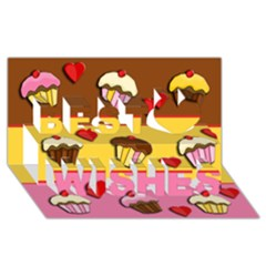 Love Cupcakes Best Wish 3d Greeting Card (8x4) by Valentinaart