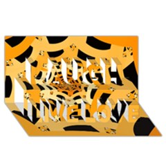 Spider Helloween Yellow Laugh Live Love 3d Greeting Card (8x4) by AnjaniArt