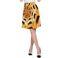 Spider Helloween Yellow A Line Skirt by AnjaniArt