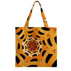 Spider Helloween Yellow Zipper Grocery Tote Bag by AnjaniArt