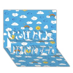 White Clouds You Are Invited 3d Greeting Card (7x5) by AnjaniArt