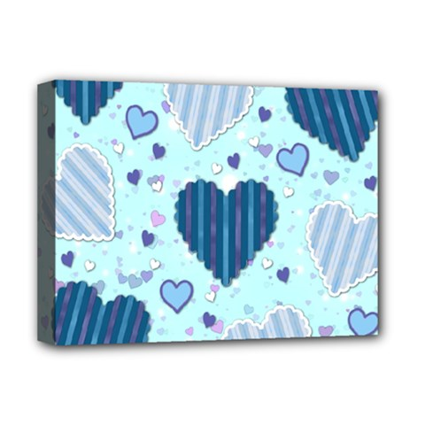 Light And Dark Blue Hearts Deluxe Canvas 16  X 12   by LovelyDesigns4U