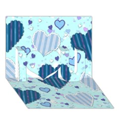 Light And Dark Blue Hearts I Love You 3d Greeting Card (7x5) by LovelyDesigns4U