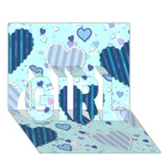 Light And Dark Blue Hearts Girl 3d Greeting Card (7x5) by LovelyDesigns4U