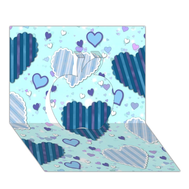 Light and Dark Blue Hearts Apple 3D Greeting Card (7x5)