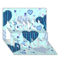 Light And Dark Blue Hearts You Rock 3d Greeting Card (7x5) by LovelyDesigns4U