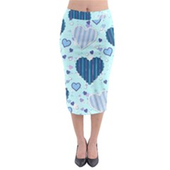 Light And Dark Blue Hearts Midi Pencil Skirt by LovelyDesigns4U