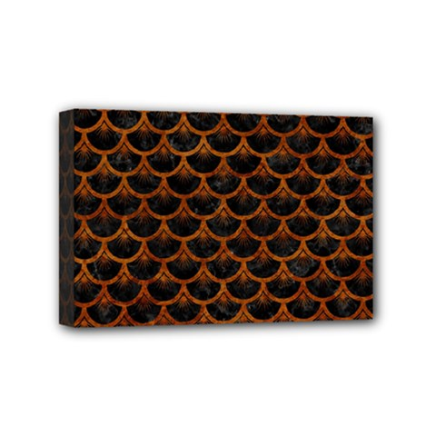 Scales3 Black Marble & Brown Marble Mini Canvas 6  X 4  (stretched) by trendistuff