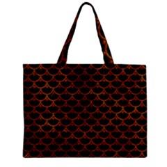 Scales3 Black Marble & Brown Marble Zipper Mini Tote Bag by trendistuff