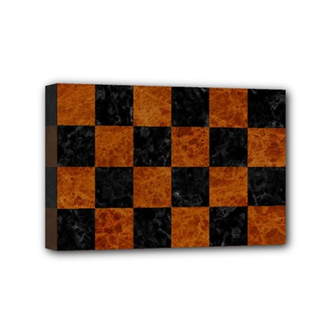 Square1 Black Marble & Brown Marble Mini Canvas 6  X 4  (stretched) by trendistuff