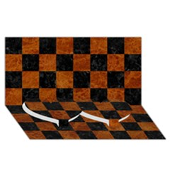 Square1 Black Marble & Brown Marble Twin Heart Bottom 3d Greeting Card (8x4) by trendistuff