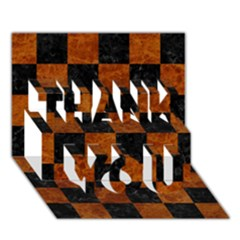 Square1 Black Marble & Brown Marble Thank You 3d Greeting Card (7x5) by trendistuff