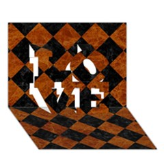 Square2 Black Marble & Brown Marble Love 3d Greeting Card (7x5) by trendistuff