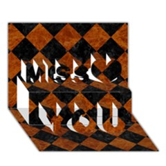 Square2 Black Marble & Brown Marble Miss You 3d Greeting Card (7x5) by trendistuff
