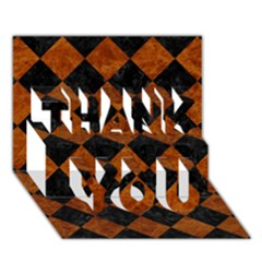Square2 Black Marble & Brown Marble Thank You 3d Greeting Card (7x5) by trendistuff