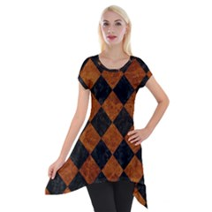 Square2 Black Marble & Brown Marble Short Sleeve Side Drop Tunic by trendistuff