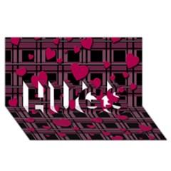 Harts Pattern Hugs 3d Greeting Card (8x4) by Valentinaart