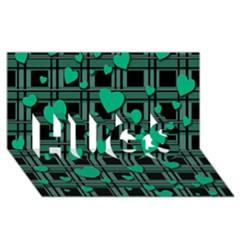 Green Love Hugs 3d Greeting Card (8x4) by Valentinaart