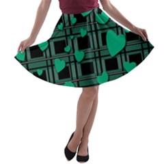 Green Love A Line Skater Skirt by Valentinaart