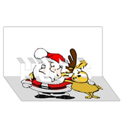 Christmas Santa Claus Hugs 3d Greeting Card (8x4) by Onesevenart