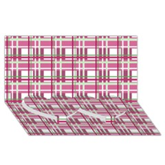 Pink Plaid Pattern Twin Heart Bottom 3d Greeting Card (8x4) by Valentinaart
