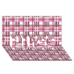 Pink Plaid Pattern Hugs 3d Greeting Card (8x4)