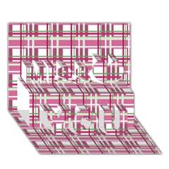 Pink Plaid Pattern Miss You 3d Greeting Card (7x5)
