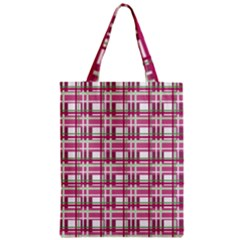 Pink Plaid Pattern Zipper Classic Tote Bag by Valentinaart