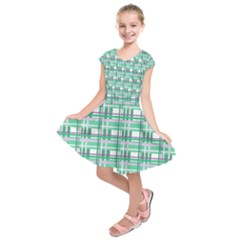 Green plaid pattern Kids  Short Sleeve Dress by Valentinaart