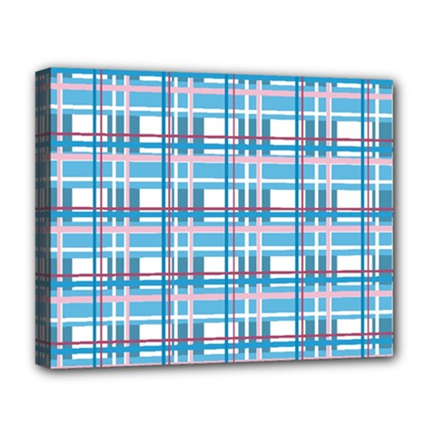 Blue Plaid Pattern Deluxe Canvas 20  X 16   by Valentinaart