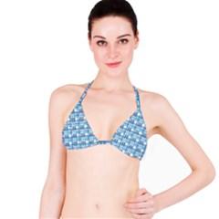 Blue Plaid Pattern Bikini Top by Valentinaart