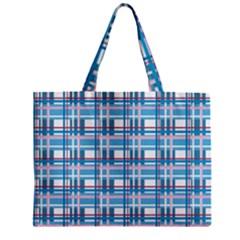 Blue Plaid Pattern Zipper Mini Tote Bag by Valentinaart