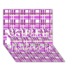 Purple Plaid Pattern You Are Invited 3d Greeting Card (7x5) by Valentinaart