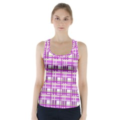 Purple Plaid Pattern Racer Back Sports Top by Valentinaart