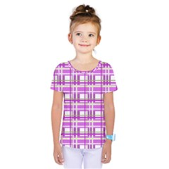 Purple plaid pattern Kids  One Piece Tee by Valentinaart