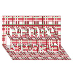 Red Plaid Pattern Merry Xmas 3d Greeting Card (8x4) by Valentinaart